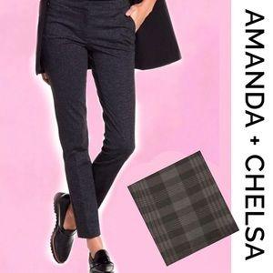 AMANDA + CHELSA Gray/Black Plaid Pants 4